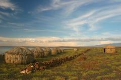 Vista del villaggio di Turkana, Kenia immagini stock libere da diritti