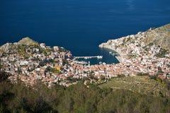 Vista del villaggio greco tradizionale da sopra Fotografia Stock