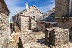 Vista del villaggio Humac sull'isola di Hvar Fotografia Stock Libera da Diritti
