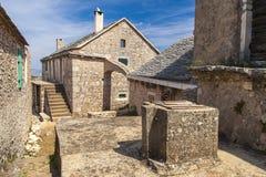 Vista del villaggio Humac sull'isola di Hvar Fotografia Stock
