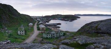 Vista del villaggio Lodeynoe e della regione di Teriberka Murmansk Immagini Stock Libere da Diritti