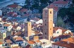 Vista del villaggio del mare di Noli, Savona, Italia Immagini Stock