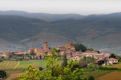 Vista del villaggio Oingt in Francia Fotografia Stock