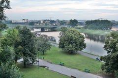Vista del Vistola dal castello di Wawel cracovia poland Immagini Stock
