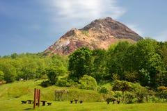 Vista del volcán activo Imagen de archivo libre de regalías