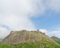 Vista del vulcano attivo, Hokkaido, Giappone Fotografia Stock