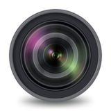 Vista delantera aislada lente de la cámara de vídeo de la foto ilustración del vector