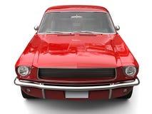 Vista delantera automotriz del músculo americano del vintage del rojo carmesí ilustración del vector
