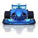 Vista delantera azul del coche de fórmula 3D con la reflexión del piso Foto de archivo libre de regalías