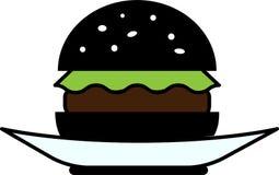 Vista delantera coloreada del icono de una hamburguesa negra con lechuga y tajada en una placa stock de ilustración