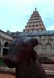vista delantera de la Bull-Nandhi-estatua con el campanario en el palacio del maratha del thanjavur Fotos de archivo libres de regalías