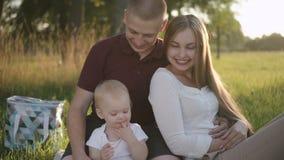 Vista delantera de la familia americana con el primer niño que se sienta en comida campestre en campo verde metrajes