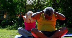 Vista delantera de la gente mayor de la raza mixta activa que realiza yoga en el jardín de la clínica de reposo 4k metrajes