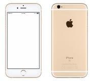 Vista delantera de la maqueta del iPhone 6s de Apple del oro y lado trasero Fotografía de archivo
