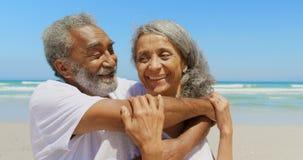 Vista delantera de la mujer mayor de abarcamiento del hombre afroamericano mayor activo feliz en la playa 4k almacen de video