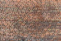 Vista delantera de la pared de ladrillo vieja Imágenes de archivo libres de regalías