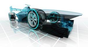 Vista delantera de la perspectiva del bosquejo del wireframe de la tecnología del coche de fórmula Imagen de archivo libre de regalías