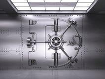 Vista delantera de la puerta cerrada de la cámara acorazada de banco stock de ilustración