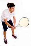 Vista delantera de la raqueta que lleva masculina Imagen de archivo libre de regalías
