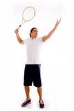 Vista delantera de la raqueta que lleva masculina Fotografía de archivo libre de regalías