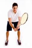 Vista delantera de la raqueta que lleva masculina Fotografía de archivo