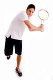 Vista delantera de la raqueta que lleva masculina Imagenes de archivo