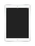 Vista delantera de la tableta blanca con la maqueta de la pantalla en blanco Fotografía de archivo libre de regalías