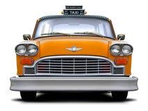 Vista delantera de Nueva York del taxi a cuadros retro del amarillo Foto de archivo