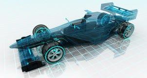 Vista delantera de parte frontal superior del bosquejo del wireframe de la tecnología del coche de fórmula Fotos de archivo libres de regalías