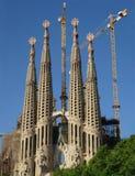 Vista delantera de Sagrada Familia Barcelona Imágenes de archivo libres de regalías