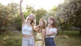 Vista delantera de tres mujeres jovenes que hacen el selfie con el teléfono móvil, presentando Muchachas que pasan tiempo al aire almacen de metraje de vídeo
