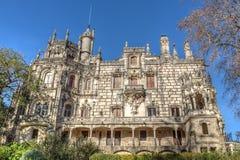 Vista delantera de un castillo antiguo Regaleira portugal Fotos de archivo libres de regalías