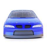 Vista delantera de un coche de competición auto genérico azul del motorsports en un fondo blanco aislado stock de ilustración