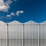 Vista delantera de un invernadero de cristal holandés Imagen de archivo libre de regalías