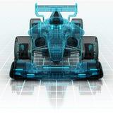 Vista delantera del bosquejo del wireframe de la tecnología del coche de fórmula Fotos de archivo libres de regalías