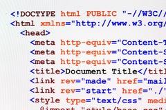 Vista delantera del código de la página web del HTML Fotografía de archivo libre de regalías