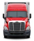 Vista delantera del camión rojo de Freightliner Cascadia imagen de archivo libre de regalías
