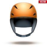 Vista delantera del casco anaranjado clásico del esquí Vector Imagenes de archivo