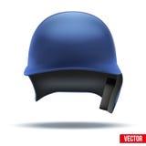 Vista delantera del casco azul clásico del béisbol Vector Fotos de archivo libres de regalías