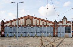 Vista delantera del depo histórico antiguo de la tranvía, Wroclaw, Polonia Imagen de archivo