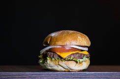 Vista delantera del hamburguer delicioso Foto de archivo libre de regalías