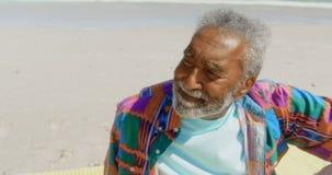 Vista delantera del hombre afroamericano mayor activo pensativo que se relaja en la playa en la sol 4k almacen de metraje de vídeo