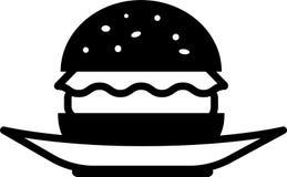 Vista delantera del icono de una hamburguesa negra con lechuga y tajada en una placa libre illustration