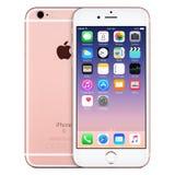 Vista delantera del iPhone 6s de Rose Gold Apple con IOS 9 en la pantalla Foto de archivo libre de regalías