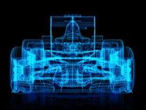 vista delantera del marco del alambre 3d de un coche de carreras en un fondo negro Fotografía de archivo