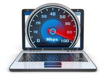 Vista delantera del ordenador portátil y velocidad de Internet stock de ilustración