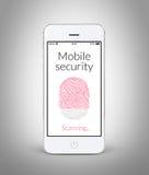 Vista delantera del teléfono elegante blanco con la huella dactilar móvil de la seguridad Fotos de archivo