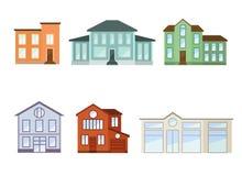 Vista delantera exterior de las casas con el tejado stock de ilustración
