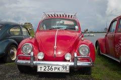Vista delantera roja de Volkswagen Beetle Exposición y desfile de coches retros en Kronstadt Fotografía de archivo libre de regalías