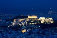 Vista dell'acropoli e di Atene Immagini Stock Libere da Diritti